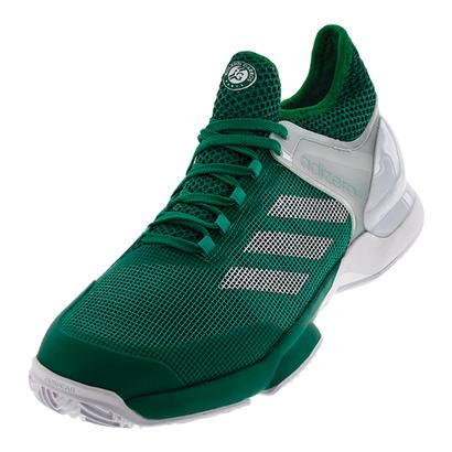 Men`s Adizero Ubersonic 2 Clay Tennis Shoes Core Green and White