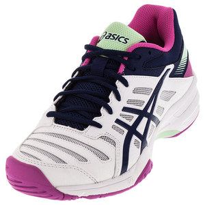 Women`s Gel-Solution Slam 3 Tennis Shoes White and Indigo Blue