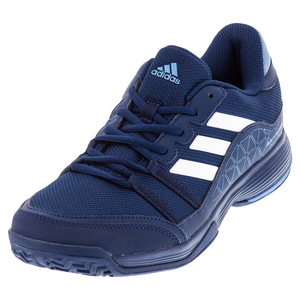 Men`s Barricade Court Tennis Shoes Mystery Blue and White
