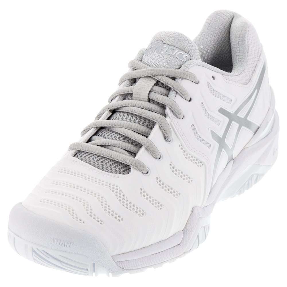 NEW Men`s Gel-Resolution 7 Clay Tennis Shoes White and Silver a297207cde0