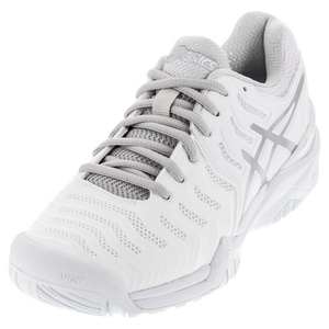 Men`s Gel-Resolution 7 Clay Tennis Shoes White and Silver