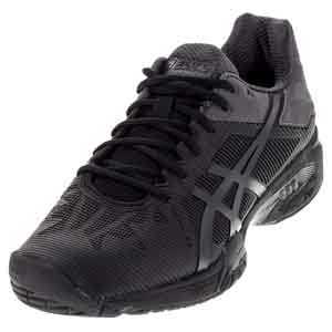 Juniors` Gel-Solution Speed 3 Tennis Shoes Black and Dark Gray