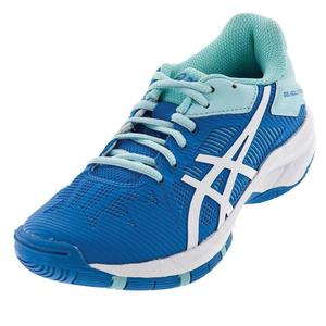 Juniors` Gel-Solution Speed 3 Tennis Shoes Aqua Splash and White