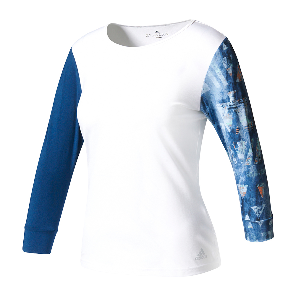 Women's Essex Three- Quarter- Sleeve Tennis Tee White And Mystery Blue