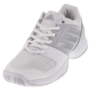 Women`s Barricade Court Tennis Shoes White and Silver Metallic