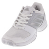 ADIDAS Women`s Barricade Court Tennis Shoes White and Silver Metallic
