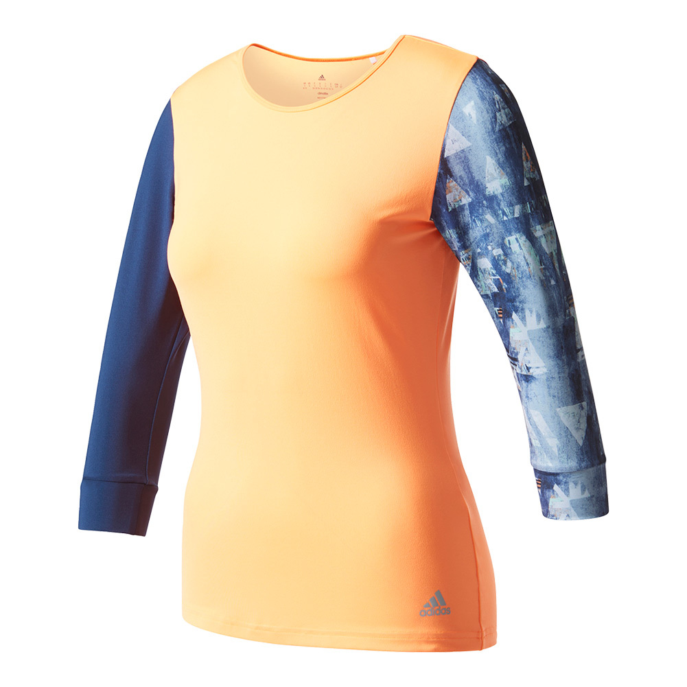 Women's Essex Three- Quarter- Sleeve Tennis Tee Glow Orange And Mystery Blue