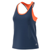 ADIDAS Women`s Essex Strappy Tennis Tank Mystery Blue and Glow Orange