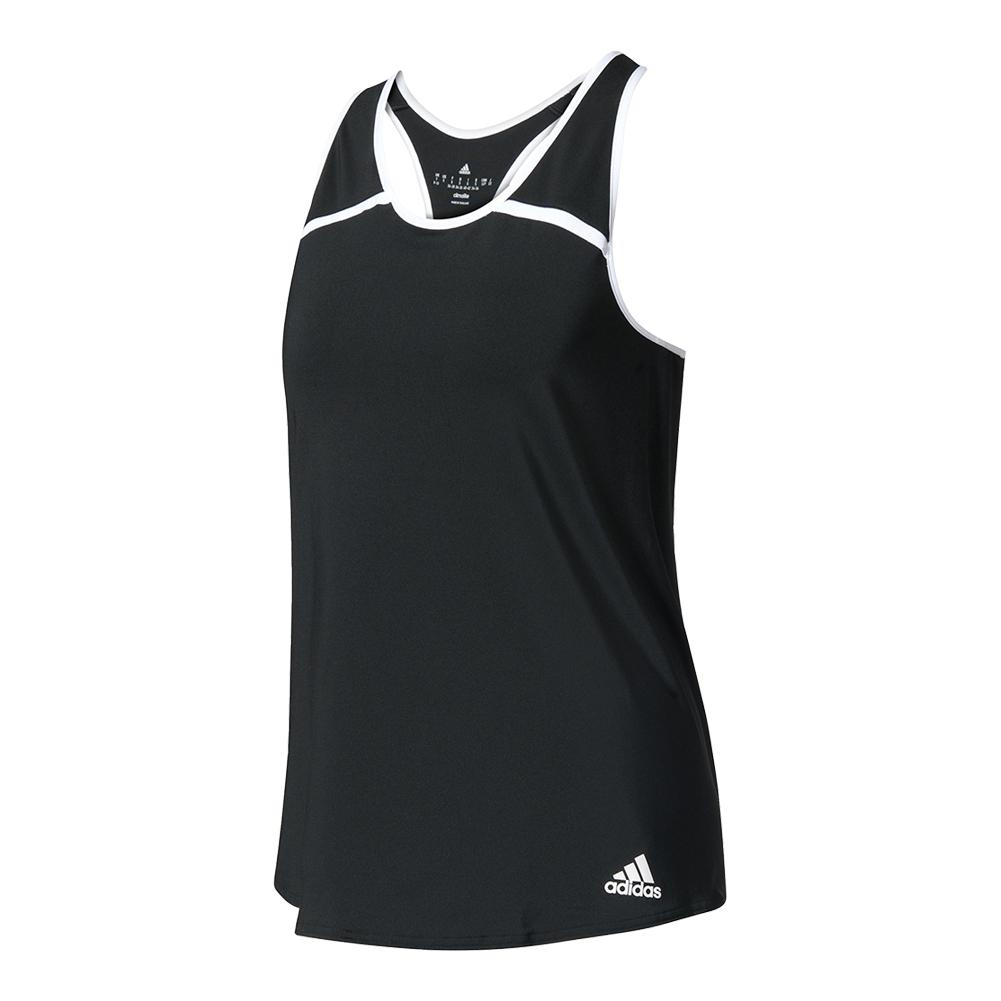 Women's Club Tennis Tank Black And White