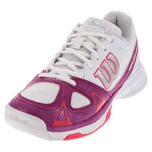Women`s Rush Evo Tennis Shoes White and Fiesta Pink