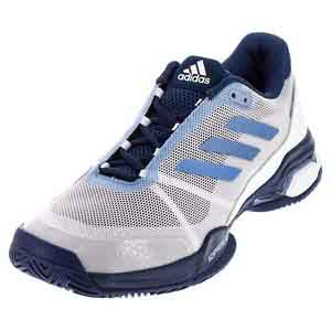 Men`s Barricade Club Tennis Shoes White and Tech Blue Metallic