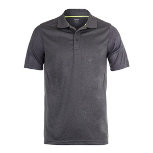 Men`s Heather Box Mesh Tennis Polo Heather Gray