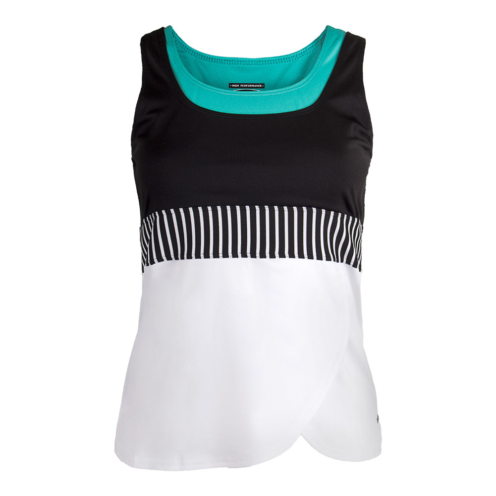 Women's Genevieve Tennis Tank White And Black