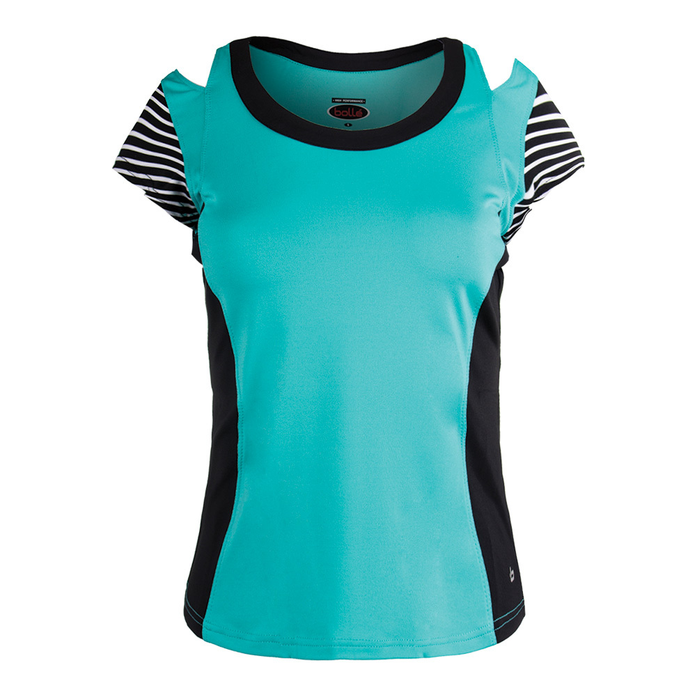 Women's Genevieve Cap Sleeve Tennis Top Aqua And Black