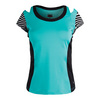 BOLLE Women`s Genevieve Cap Sleeve Tennis Top Aqua and Black