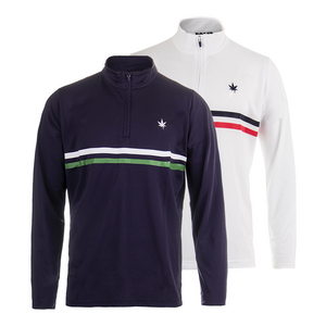 Men`s Court 1/4 Zip Chest Stripe Tennis Top