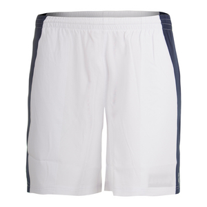 Men`s 7 Inch Edge Panel Tennis Short White and Navy