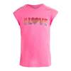 LUCKY IN LOVE Girls` Swing Back Cap Sleeve Tennis Top Pink