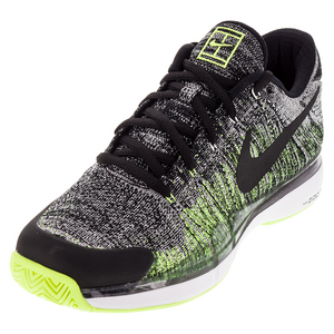 Men`s Zoom Vapor Flyknit Tennis Shoes Black and Volt