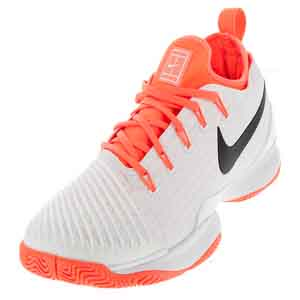Women`s Air Zoom Ultra React Tennis Shoes White and Hyper Orange