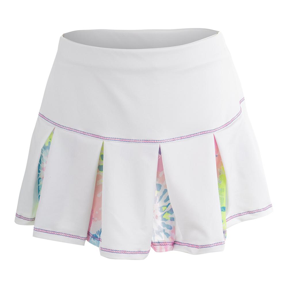 Girls ` Mesh Pleat Tennis Skort White And Print