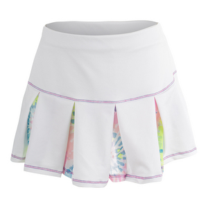 Girls` Mesh Pleat Tennis Skort White and Print