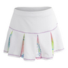 LUCKY IN LOVE Girls` Mesh Pleat Tennis Skort White and Print