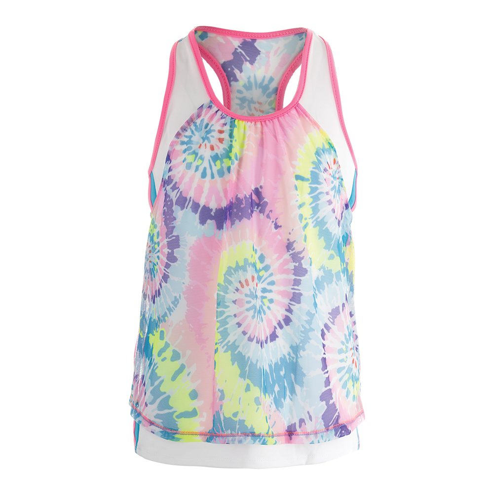 Girls ` Tie- Dye Mesh Layer Crop Tennis Top Print