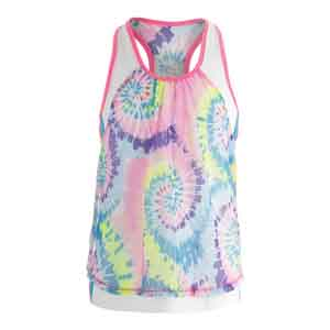 Girls` Tie-Dye Mesh Layer Crop Tennis Top Print