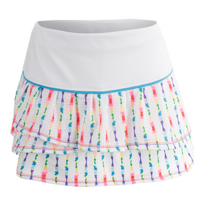 Girls` Ditsy Tie-Dye Pleat Tier Tennis Skort Print