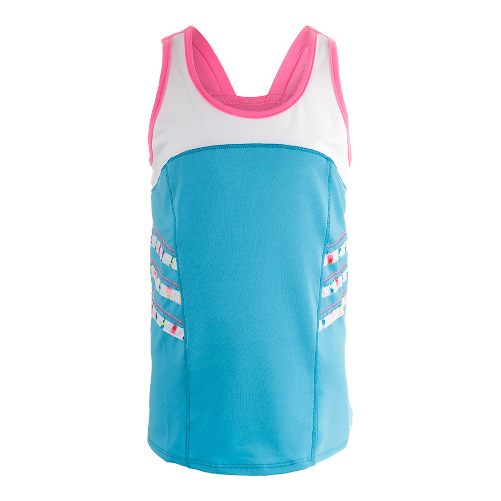 Girls ` High Neck Tennis Cami Ocean And White