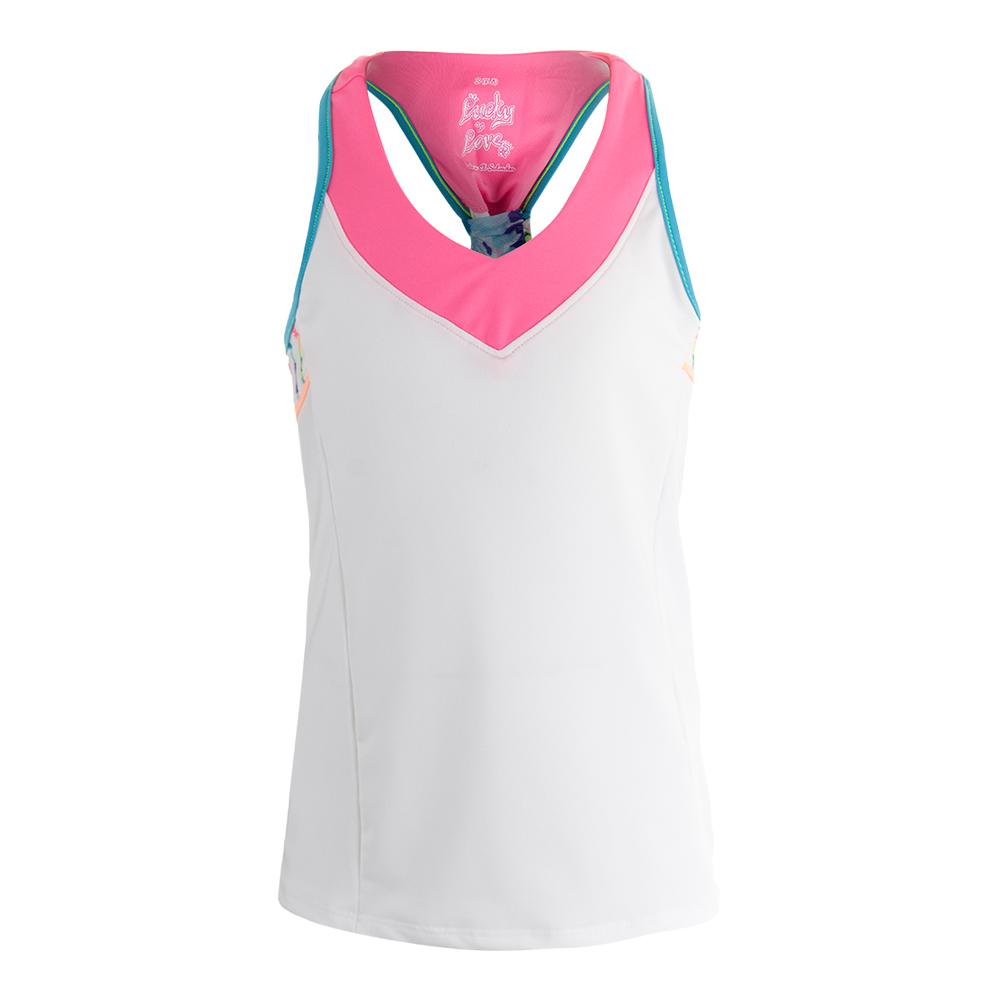 Girls ` V- Neck Racerback Tennis Tank White