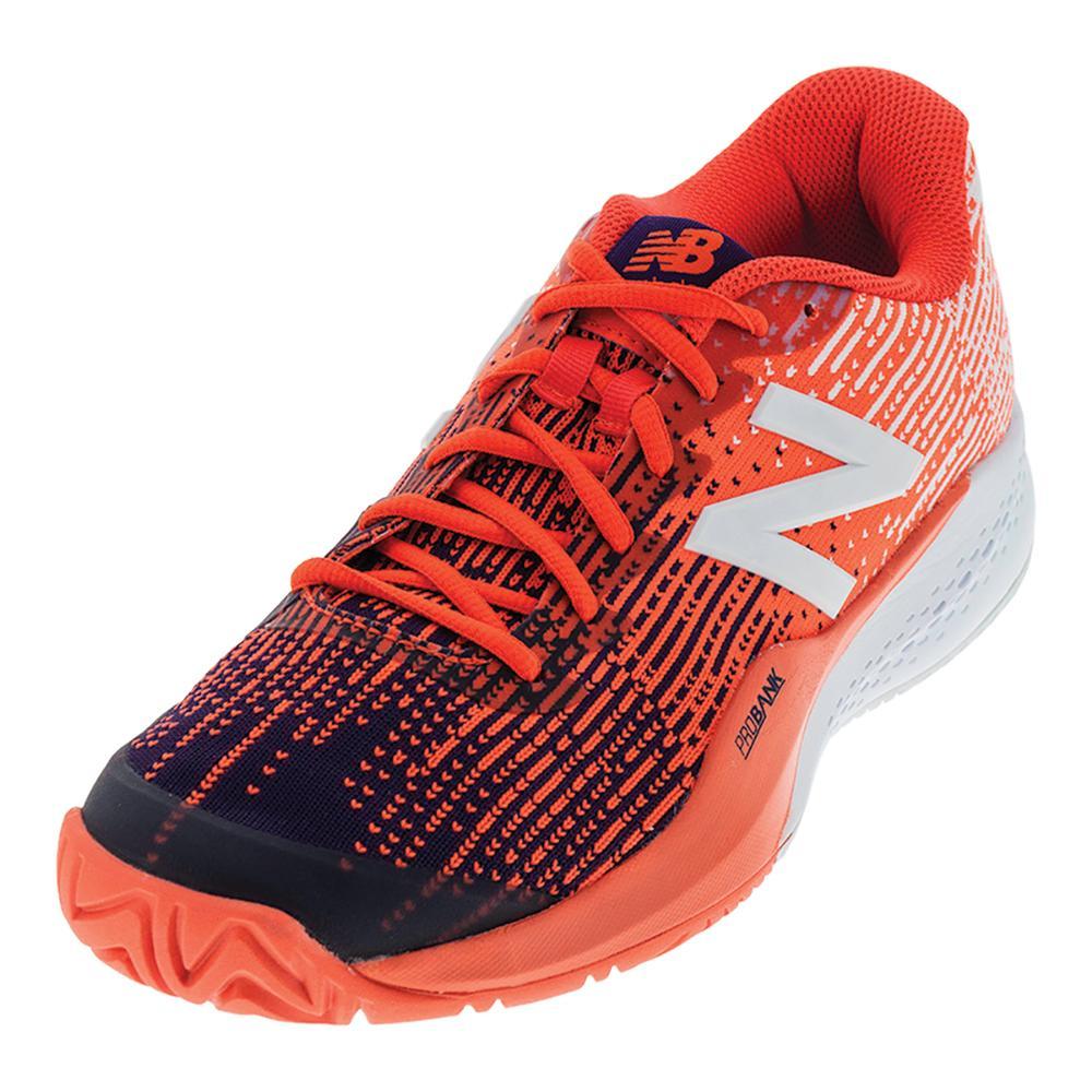 Men's 996v3 2e Width Tennis Shoes Black Plum And Alpha Orange