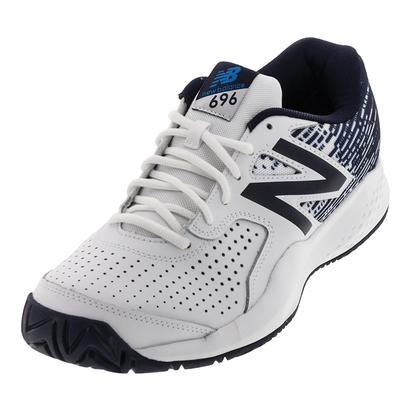 Men`s 696v3 2E Width Tennis Shoes White and Blue