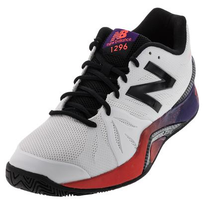 Men`s 1296v2 D Width Tennis Shoes White and Black Plum