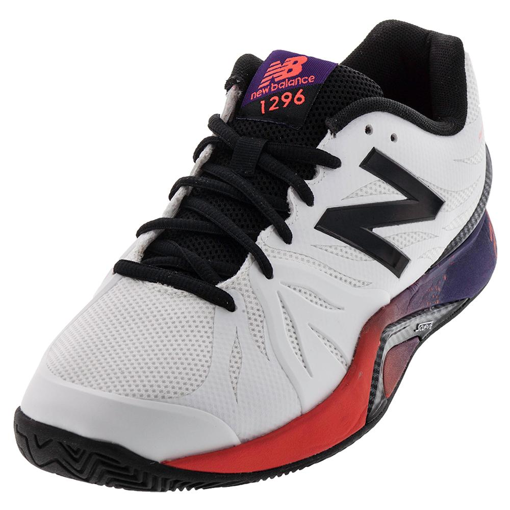Men's 1296v2 2e Width Tennis Shoes White And Black Plum