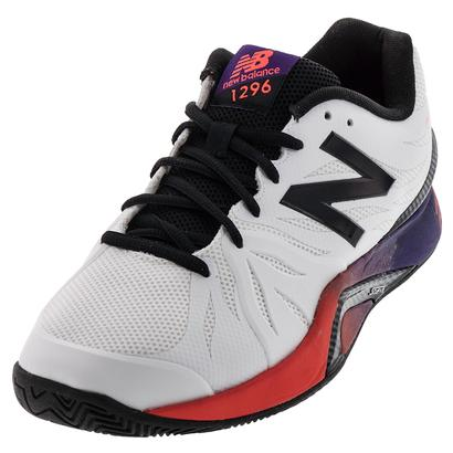 Men`s 1296v2 2E Width Tennis Shoes White and Black Plum