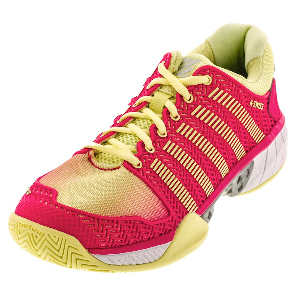 Women's Hypercourt Express Tennis Shoes Pale Lime Yellow And Raspberry