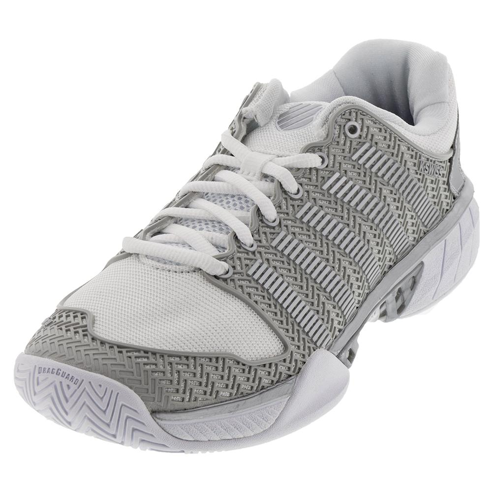 Women's Hypercourt Express Tennis Shoes White And Silver