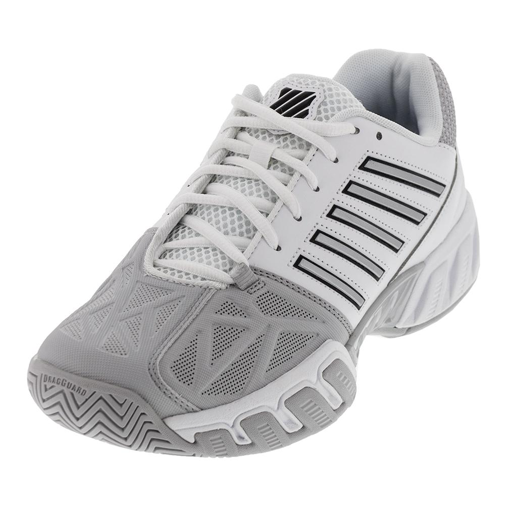 ffee510f3360 K- Swiss Men s BigShot Light 3 Tennis Shoes White and Silver