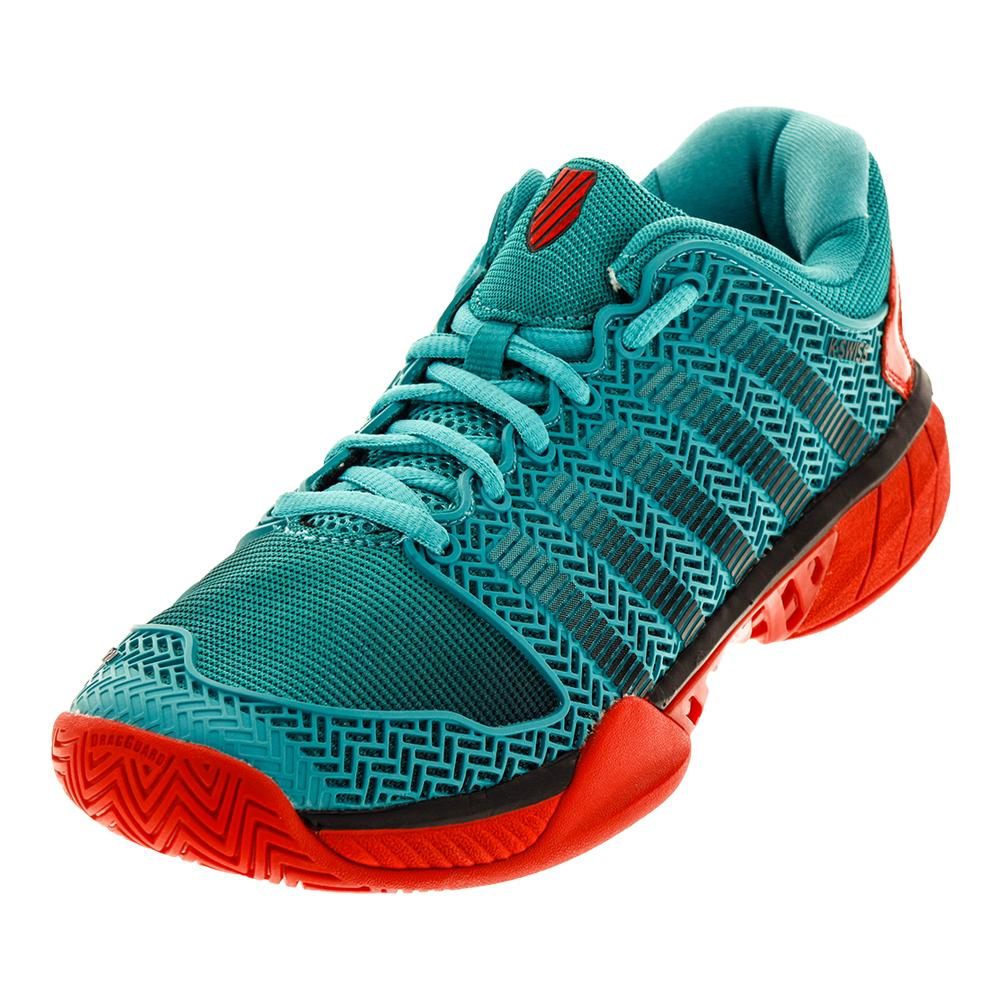 Men's Hypercourt Express Tennis Shoes Viridian Green And Fiery Red