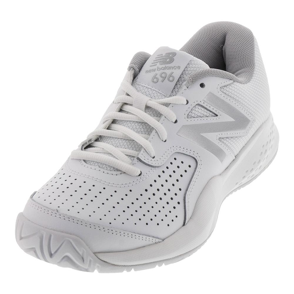 Women's 696v3 B Width Tennis Shoes White And Silver