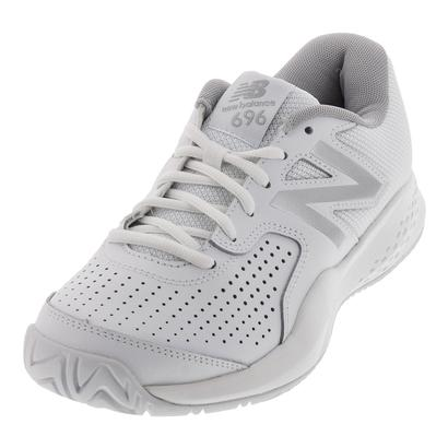 Women`s 696v3 B Width Tennis Shoes White and Silver