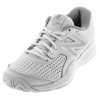 Women`s 696v3 D Width Tennis Shoes White and Silver