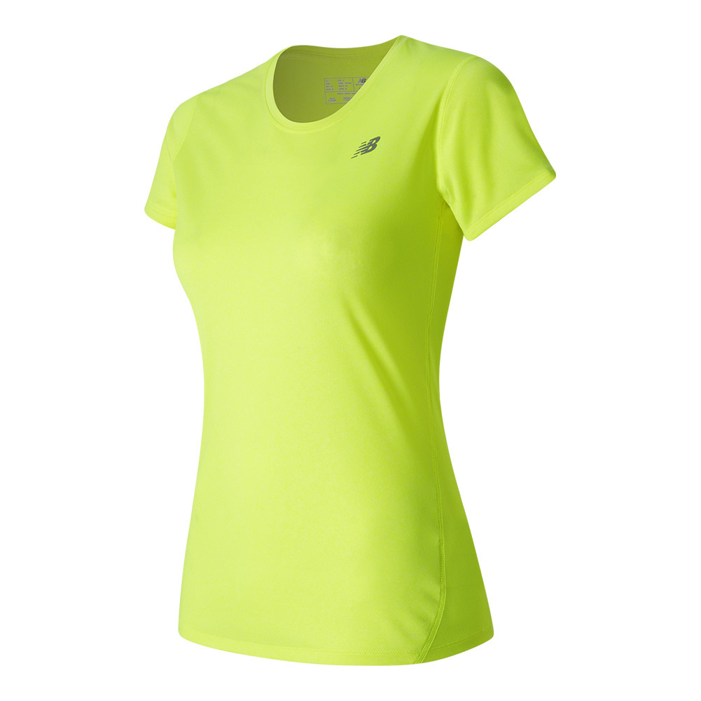 Women's Heathered Short Sleeve Tennis Tee Lime Glo Heather
