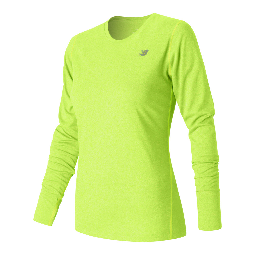 Women's Heathered Long Sleeve Tennis Top Lime Glo Heather
