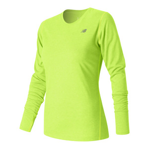 Women`s Heathered Long Sleeve Tennis Top Lime Glo Heather