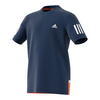 ADIDAS Boys` Club Tennis Tee Mystery Blue and White