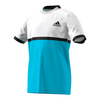 ADIDAS Boys` Court Tennis Tee White and Samba Blue