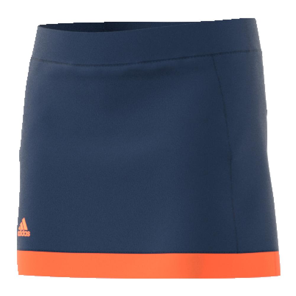 Girls ` Court Tennis Skirt Mystery Blue And Glow Orange